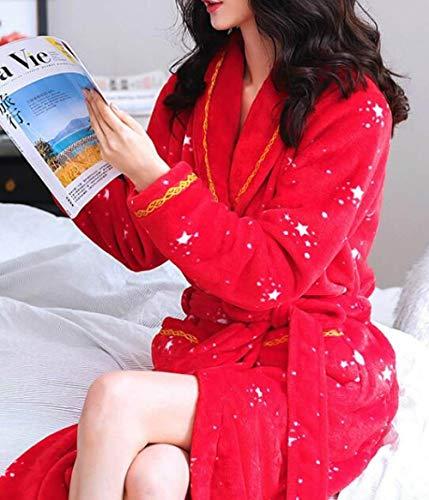AAJIA Accappatoio Invernale Fashion Robes Women Coral Fleece Warm Sleepwear Flannel Autumn Winter Long Sleeve Bathrobe Home Service Female Nightwear,StyleP,M