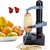 Mifidy Multifunctional Automatic Electric Potato Peeler Rotating Fruits Vegetables Cutter Kitchen Peeling Tool for Fruit Vegetables Battery Powered (Black)