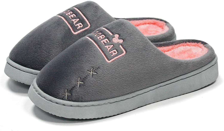 NOMIMAS Women's Warm Slippers Winter Soft Short Plush Cotton Non-Slip Thick Sole Ladies Floor Home shoes