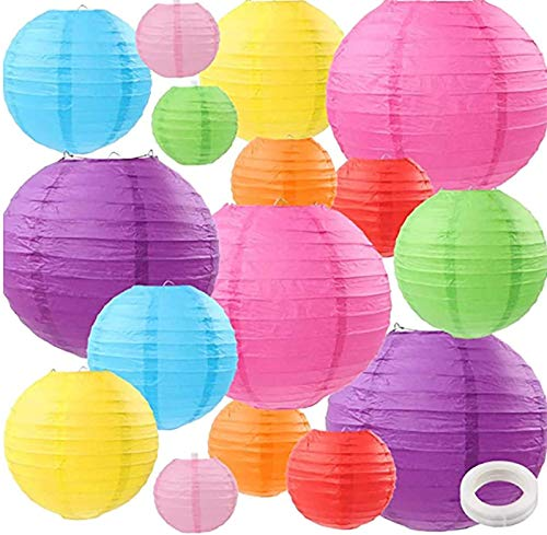 "ZJHAI 16pcs Colorful Paper Lanterns, Multi-Color Chinese or Japanese Hanging Paper Lanterns Decoration for Classroom, Party, Wedding, Home Decoration(Size of 4"", 6"", 8"", 10"")"