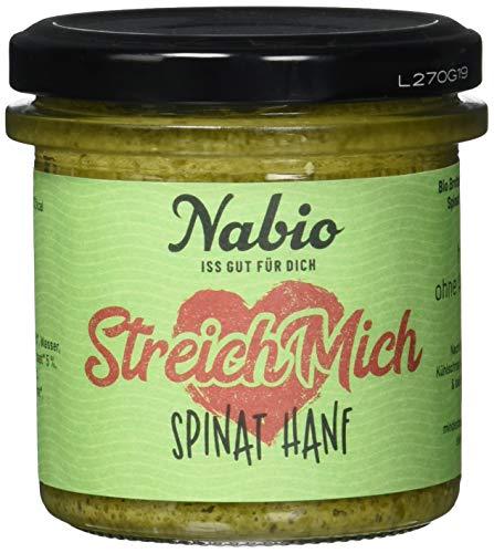 Nabio Spinat Hanf - Bio Brot-Aufstrich mit Hanfsaat - vegan, 6er Pack (6 x 140 g)