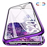 Woskko Galaxy S20+ Plus Magnetic Case, Magnetic Adsorption Metal Case Aluminum Bumper 9H Tempered Glass Back Cover for Samsung Galaxy S20+ Plus 6.7 inch (Clear Purple)