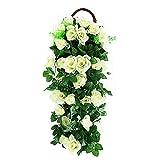 FYSL künstliche Rosengirlande deko Hängen Künstliche Pflanzen Rose Vine Künstlich hängende Blumen Künstliche Blumen Girlande für Hochzeit Party Garten Wanddekoration,Weiß