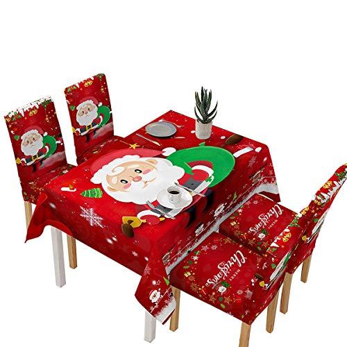 Koitniecer Copritavolo Natalizio e coprisedie, tovaglia Rettangolare Impermeabile per Decorazioni Natalizie e Capodanno Invernali (Red Tablecloth, 55 x 55 inch)