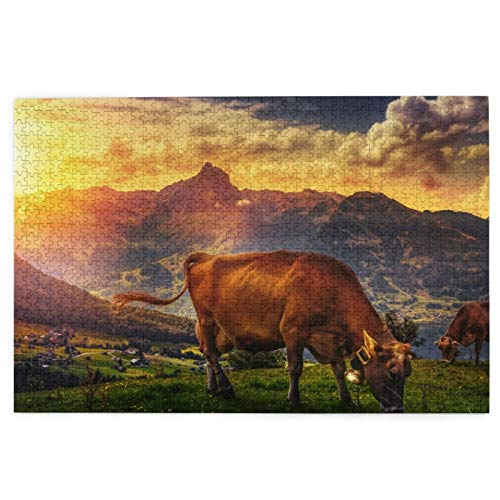 KIMDFACE Puzzle Jigsaw 1000 pezzi per gli adulti,Paesaggio Montagne Sole Sole Rocce Mucca Campana Nuvole,gioco familiare,festa aziendale,regalo per amore e amico