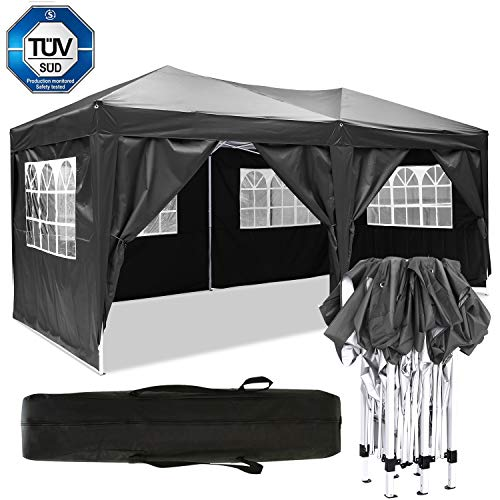 Eloklem All Seasons Gazebos 3x3m/3x6m Waterproof Pop up Tent Shade Shelters With Walls for Party Wedding Ceremony (3x6m, Large_Black)