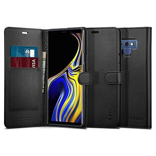 Spigen - Funda para Samsung Galaxy Note 9, Funda de Piel con función Atril integrada, Tarjetero, Funda Protectora para Samsung Note 9, Color Negro