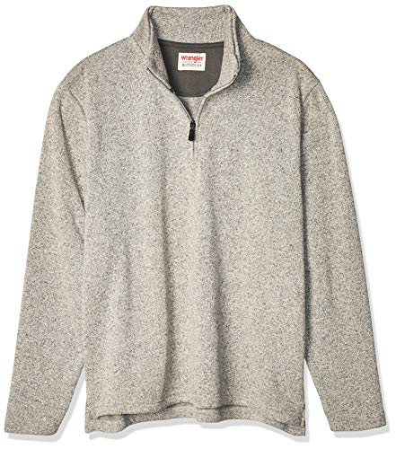 Wrangler Authentics Men's Sweater Fleece Quarter-Zip, Light Heather Gray, Medium