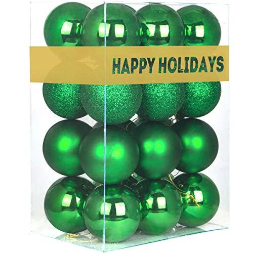 "24Pcs Christmas Balls Ornaments for Xmas Tree - Shatterproof Christmas Tree Decorations Large Hanging Ball Green 2.5"" x 24 Pack"