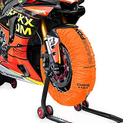 Reifenwärmer Tire Warmers RACEFOXX PRO DIGITAL bis max. 99° C SUPERBIKE, 120/17 vorne und 180 bis 200/17 hinten für Motorradreifen Rennsport Heizdecken orange