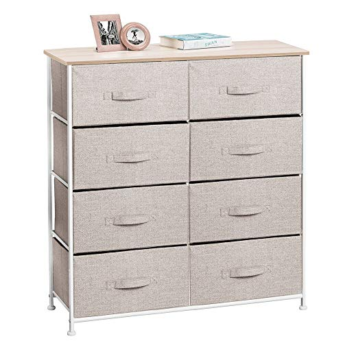 mDesign Vertical Dresser Storage Tower - Sturdy Steel Frame Wood Top Easy Pull Fabric Bins - Organizer Unit for Bedroom Hallway Entryway Closets - Textured Print - 8 Drawers - LinenTan