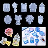 iSuperb 9 Pack Resin Shaker Mold Silicone Molds Quicksand Casting Molds Epoxy Resin Mold Jewelry Molds for Pendant Decoration Craft Making DIY (Molde de resina de 9 piezas)