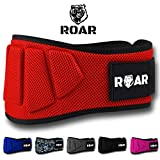 Roar® Cinturón musculación para Entrenamiento de Levantamiento de Peso Crossfit Powerlifting Halterofilia Pesas Gimnasio (Rojo, L)