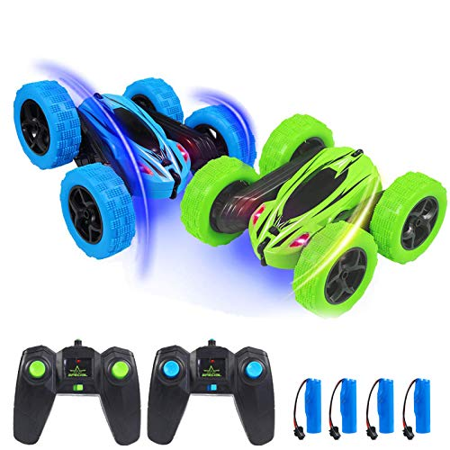 Acekid 2pcs RC Stunt Cars, Kids Remote Control Car Toys, 4WD 2.4Ghz Double Sided 360°Rotating RC Car with Led Lights, Driving Cars Toys for Boys&Girls, Blue+Green