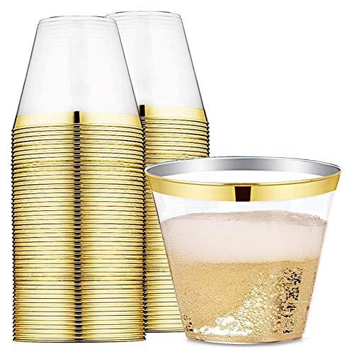 Landyta 255 ml 100 pezzi Bicchieri di Plastica Rigida Riutilizzabili Dorato Eleganti Bicchieri in Plastica Trasparente usa e Getta per Matrimoni, Feste, Eventi
