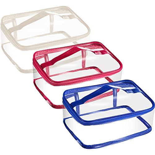 3 Bolsas de Maquillaje Transparentes Bolsa de Aseo con Cremallera PVC Bolsa de Cosméticos Portátil Bolsa Organizadora de Almacenamiento de Viaje Impermeable Transparente con Asa, 3 Colores