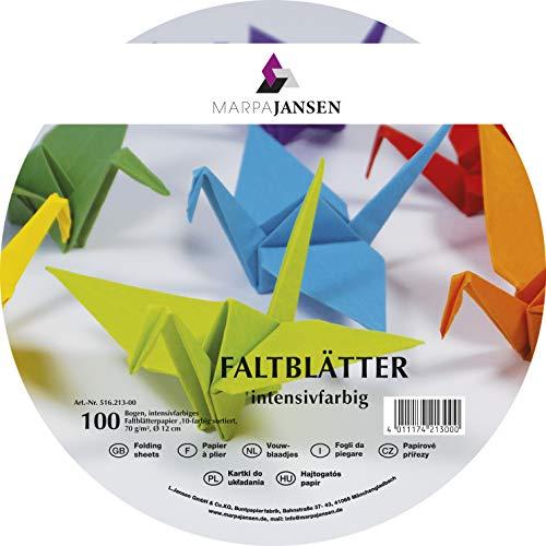 MarpaJansen Faltblätter-intensivfarbig-Origamipapier-(Ø 12 cm, 500 Blatt, 70 g/m²) -10-farbig Sortiert, Papier