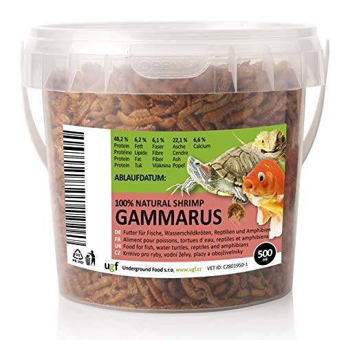 UGF - Premium Gammarus Bachflohkrebse getrocknet, 500 Milliliter Eimer, Insektenfutter für Schildkröten, Fische, Vögel, Hamster, Igel, Koi und Ratten – ohne Konservierungs- und Farbstoffe