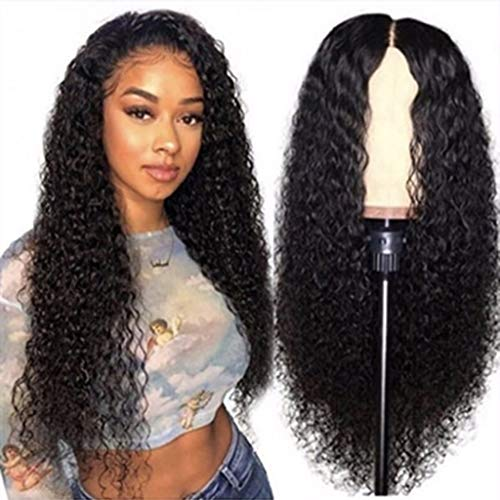 Hair Wigs for Women Peruvian Curly Human Hair Wig Glueless Lace Front Human (Black, One Size)