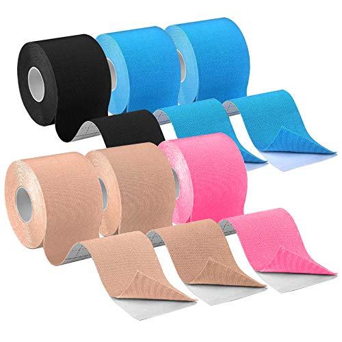 CHOIMOKU キネシオテープ テーピング 50mm テーピングテープ 50mm キネシオテープ キネシオ テープ 筋肉・関節をサポート キネシオロジーテープ 伸縮性強い 汗に強い スポーツ レギュラー 5cm x 5m 6巻入 (ベージュ/ブルー/ブラ