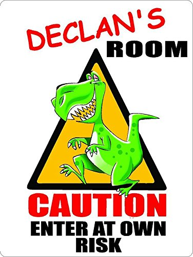 """ANY AND ALL GRAPHICS Declan Caution Enter Dinosaur Kids Room Door décor Sign 7""""X10"""" Plastic"""