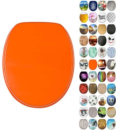 WC Sitz mit Absenkautomatik, viele neue WC-Sitze zur Auswahl, hochwertige Oberfläche, einfache Montage, stabile Scharniere (Orange)