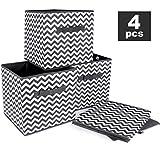 ilauke 4pcs Cube de Rangement Pliable Boîtes de Rangement Textile Non-Tissé Boîtes Tiroirs avec Poignée pour Linge Jouets...