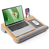 LORYERGO Lap Desk - Laptop Desk Fits Up to 17 Inch Laptop, Portable Laptop Stand with Built in Mouse Pad & Wrist Rest for Notebook, Lap Table with Phone & Tablet Holder for Couch, Bed
