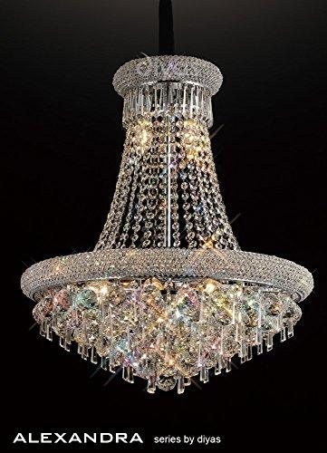 Inspired Diyas - Alexandra - Lámpara colgante de techo 13 Cromo pulido claro, Cristal