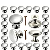 Cabinet Knobs 30 Pack, POZEAN Brushed Nickel Cabinet Knobs Silver with Screws for Dresser ...