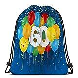 KKs-Shop Mochila con cordón, Saco de Gimnasia, Globos de Tarjeta de Feliz cumpleaños Aniversario Tarjeta de Feliz cumpleaños de Aniversario Globos de Colores Gráfico Tti