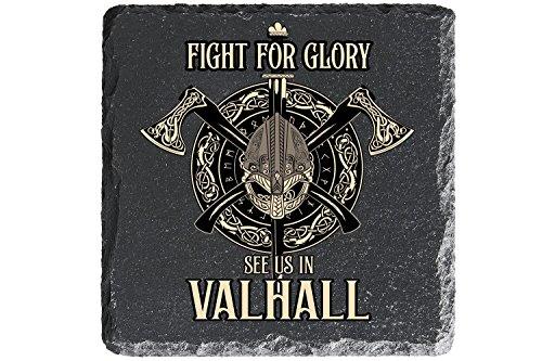 MCK-Handel Untersetzer Bedruckt anstelle Gravur - 4er-Set - Schiefer 10cmx10cm - Filzfüssen zum Schutz - Wikinger Vikings mit dem Motiv Fight for Glory