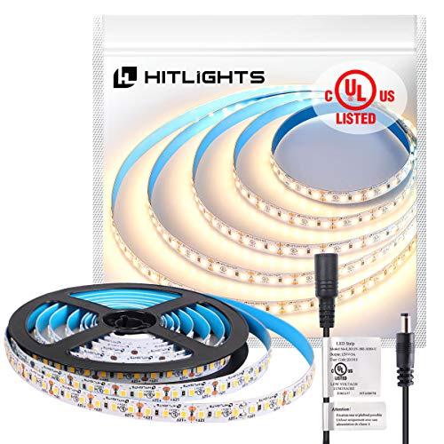 HitLights Warm White LED Strip Lights, UL-Listed Premium High Density 2835 LED Lights - 10 Feet, 360 LEDs, 3000K, 1560Lumen/m 4.6 Watts/Foot, 12V DC LED Tape Light