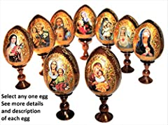 """Select any one egg, 9 icons available * See additional listing for other eggs Material – solid wood * Size 18 cm / 7 inches (egg 12 cm / 4-3/4"""") On 1st pictures shown: 1.Egg on stand; 2.View from side (typical for all eggs); 3. Enlarged detail of egg..."""
