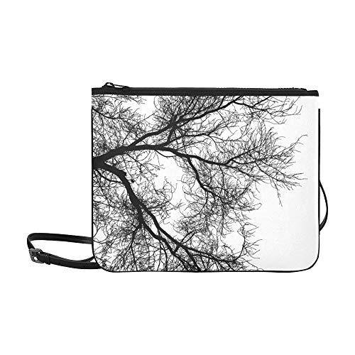 WYYWCY Baum-Niederlassungs-Schattenbild auf weißer kundenspezifischer hochwertiger Nylon-dünner Clutch-Tasche Umhängetasche mit Umhängetasche