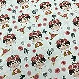 Kt KILOtela Tela por Metros de Patchwork - Estampación Digital - 100% algodón - 140 cm Ancho - Largo a elección de 50 en 50 cm | Frida Kahlo, Calaveras y Flores - Rojo, Negro, Blanco