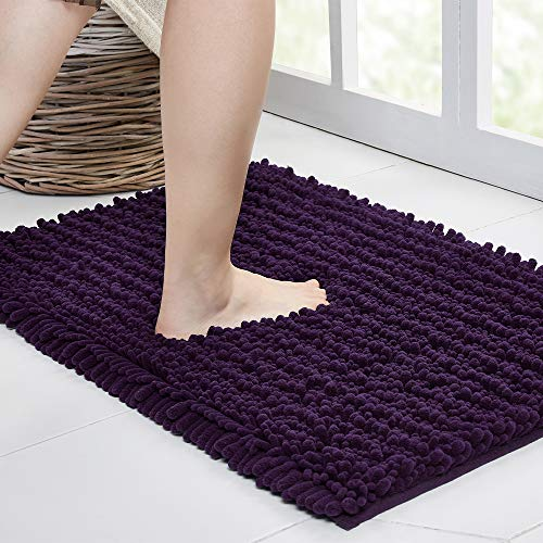 Walensee Bathroom Rug Non Slip Bath Mat (24x17 Inch Dark Purple) Water Absorbent Super Soft Shaggy Chenille Machine Washable Dry Extra Thick Perfect Absorbant Best Small Plush Carpet for Shower Floor
