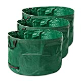 UBORSE Bolsa de Residuos de Jardín Paquete de 3 * 238L Sacos de Basura Reutilizables con Asa Colección Leaf Bolsa de Aultivo para Verduras