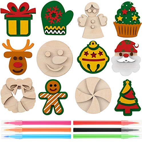 Imanes de madera para manualidades de Navidad, 12 unidades, divertidos, creativos, de madera, para manualidades