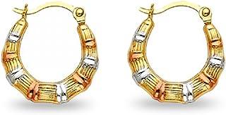 14k Tri-Color Gold Fancy Hollow Hoop Earrings, 22mm X 21mm