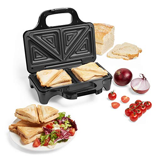 VonShef 2 Slice Sandwich Toaster, Press & Grill 700W for Toasties, Paninis & Snacks - Easy Clean Non-Stick Deep Fill Plates, Indicator Light, Auto Temperature Control & Compact Size
