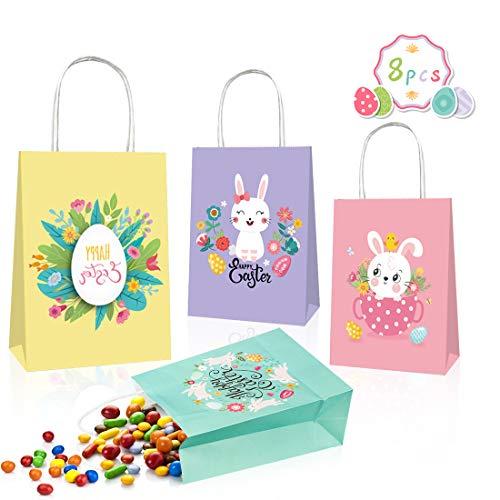 O-Kinee Ostertüten zum Befüllen, Geschenktüten für Kinder zu Ostern, 8 pcs Geschenktüten zu Ostern, Candy Tüten Geschenktüten Hasen Ostertüte, Ostergeschenke für Kinder, Osterdeko