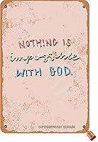 神と不可能なことは何もありませんティンレトロルック20X30CM装飾ポスターサインホームキッチンバスルームファームガーデンガレージインスピレーションを与える引用壁の装飾