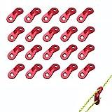 Sourcemall 20 guías de cuerda de aleación de aluminio, ajuste de Guyline, tensores, tensores, color rojo
