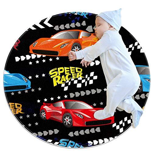 Alfombra Redonda Bebe Coche Speed Racer de Dibujos Animados Alfombra De Gateo Suave Alfombra De Gateo Antideslizante para Guardería Dormitorio 70x70cm