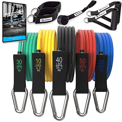 AbéProducts® Resistance Bands Set mit E-Book und Übungsvideos - Widerstandsband Set für Home Workout - Premium Widerstandsbänder aus Naturlatex - Fitnessbänder Set - Expander