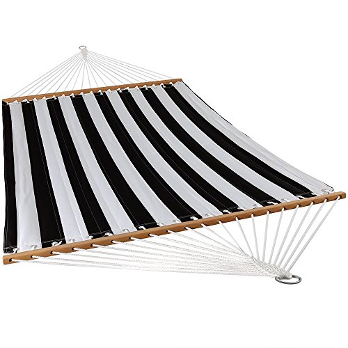Sunnydaze Quilted Fabric Hammock Two Person with Spreader Bars Heavy Duty 450 Pound Capacity, Black and White
