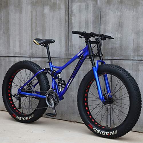 Bicicletas de Montaña 26 Pulgadas, MJH-01 24 Velocidad Bicicleta de Montaña de Fat Tire para Adultos, Marco de Acero de Alto Carbono Doble Suspensión Completa Doble Freno de Disco, Negro/Azul