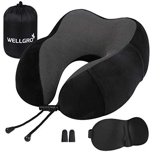 WELLGRO Nackenkissen Set mit 3D Schlafmaske und Ohrstöpsel - Abnehmbarer Bezug - Memory Schaum - Reißverschluss - inkl. Aufbewahrungstasche - Reisekissen - Farbe wählbar, Farbe:Schwarz