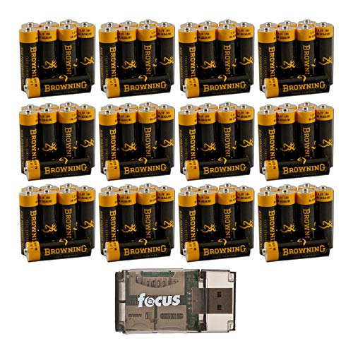 Browning Trail Cameras AA Alkaline Batteries 48-Pack Bundle with Focus Memory Card Reader. High Performance Batteries are Designed for Best Performance in Any Browning Game Cam (13 Items)